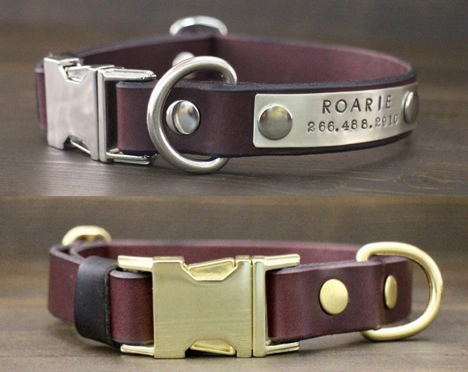Leather dog collar, Dog collar, Quick release collar, FREE personalisation, Brass-Silver hardware, Bordeaux collar, Handmade leather collar