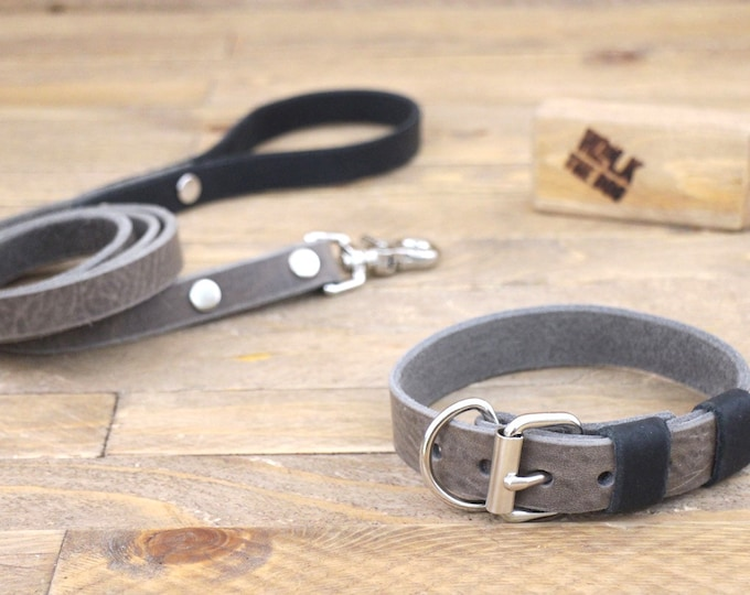 Dog collar, Dog leash, FREE ID TAG, Collar and leash set, Silver hardware, Wolf grey brown, Raven, Handmade collar and leash, Unique.