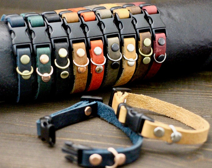 Cat collar - Leather cat collar - Breakaway Non Breakaway collar - Plain leather collar - Silver hardware - Kitten collar - Cat accessories