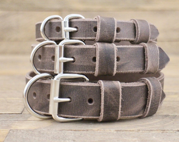Dog Collar, Leather collar, FREE ID TAG, Silver hardware, Cherry brown, Handmade collar, Pet collar, Dog gift, Pet supplies
