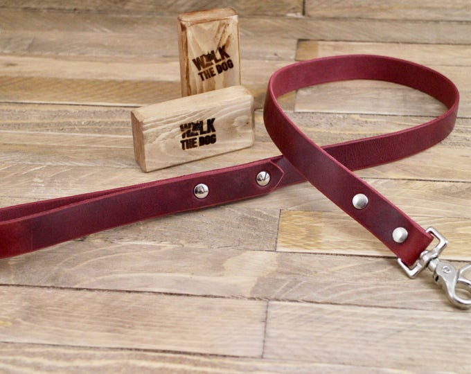 Handmade leash, Leash, Dog leash, Pet gift, Rustic leather leash, Burgundy leather leash, Leather leash, Strong leash.