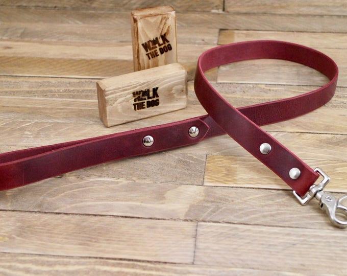 Handmade leash, Leash, Dog leash, Pet gift, Rustic leather leash, Burgundy leather leash, Leather leash, Strong leash.