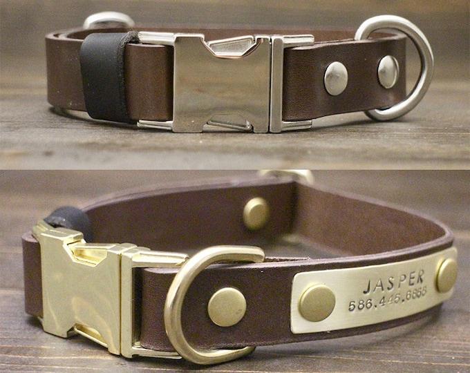 Dog collar, Quick release collar, FREE personalisation, Brown leather collar, Brass-Silver hardware, Handmade collar