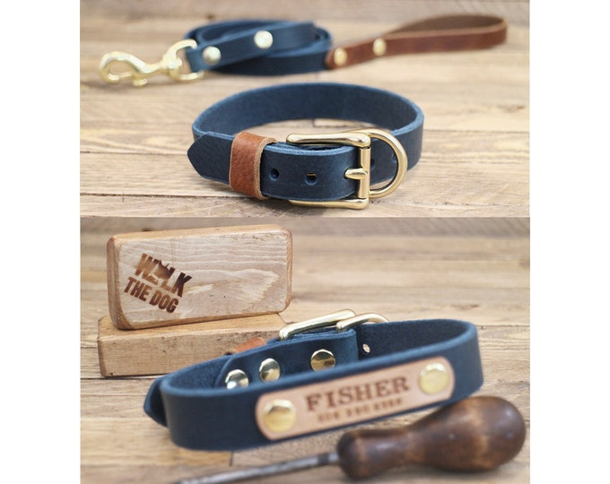 Collar and leash set, Wedding collar, Deep ocean, Cowboy brown, Brass hardware, FREE ID TAG, Handmade leather collar, Leather leash.
