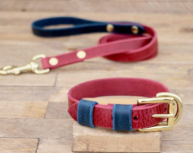 Dog collar, Dog leash, Set, Burgundy, Deep ocean,  FREE ID TAG, Brass hardware, Handmade leather collar, Leather leash, Leather collar.