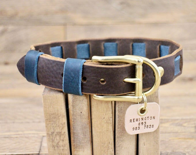 Dog collar,  Personalised collar, FREE ID TAG, Collar, Gift, Handmade leather collar, Cocoa collar, Two colours collar, Leather dog collar.
