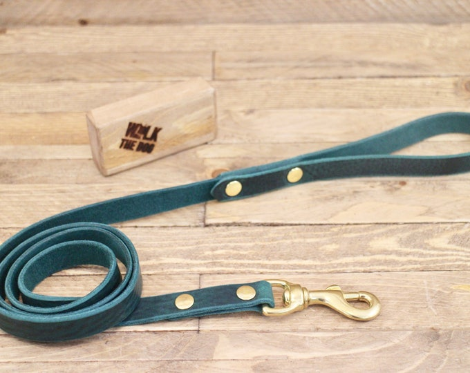 Leather dog leash, Dog leash, Leather lead, Pet gift,Walk leash, Lead, Handmade leather leash, Dog collar and leash, Dog, Puppy, Green Leash