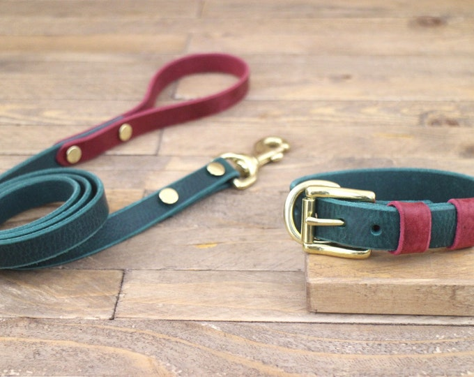 Leather leash, Brass hardware, Collar, Free ID tag, Forest and Burgundy, Handmade leash, Dog accessories, Leather set, Collar and leash.