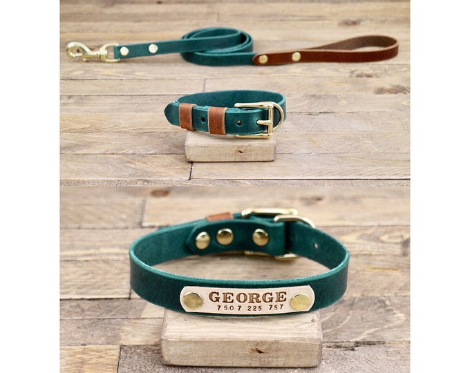 Leather leash, Leather collar, Collar and leash set, FREE ID TAG, Forest, Cowboy brown, Colours, Brass hardware, Handmade collar and leash.