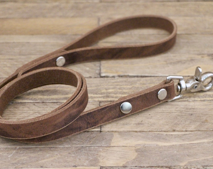 Handmade leash, Leash, Dark coffee leash, Pet gift, Leather leash, Strong leash, Leather leash, Strong lead, Sturdy leash.