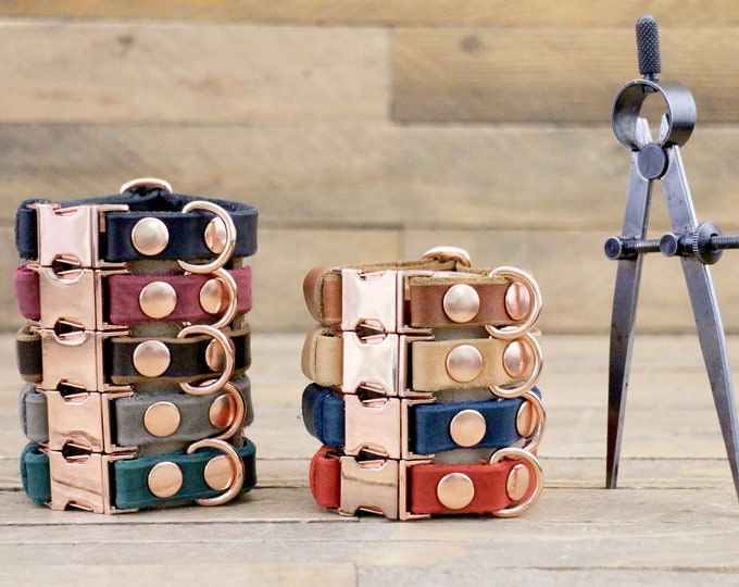 Small dog collar, Clip collar, FREE personalisation, Leather dog collar, Adjustable collar, Xsmall collar, Brown collar, Rose gold hardware