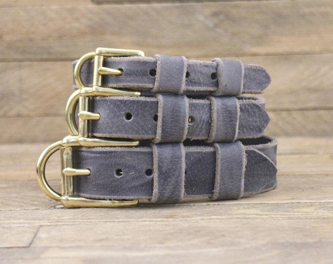 Leather dog collar, FREE ID TAG, Collar, Brass hardware, Dog gift, Grey stone, Handmade leather collar, Dog collars, Pet supplies.