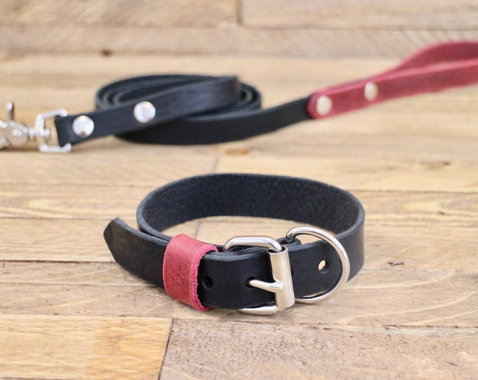 Leather leash, Leather collar, Collar and leash set, Dog collar, Raven, Burgundy, Silver hardware, FREE ID TAG, Handmade collar and leash.
