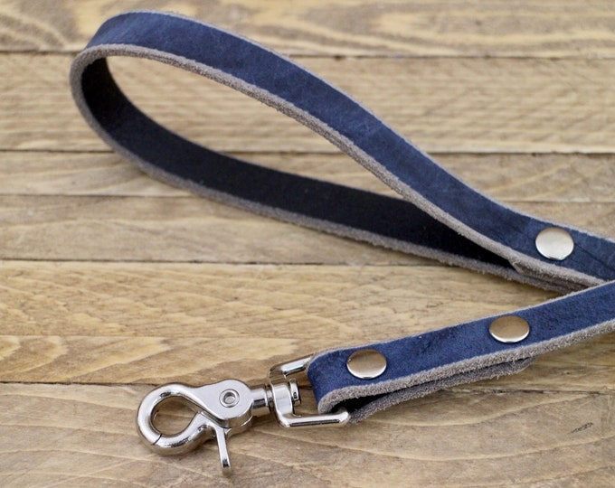 Leash, Silver hardware, Leather dog lead, Lead, Broken blue colour, Handmade leather leash, Sturdy leash, Puppy, Simple leash, Unique leash
