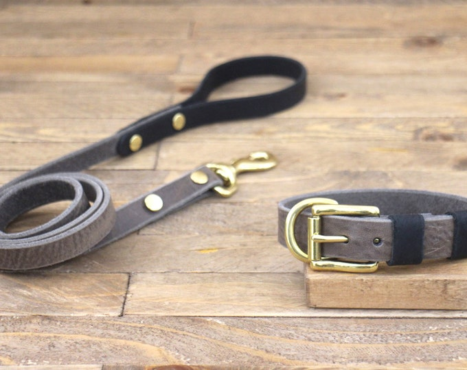 Lead, Handmade collar, Collar and leash set, Personalised collar, Wolf grey brown, Raven, Brass, FREE ID TAG,, Leather collar and leash set.