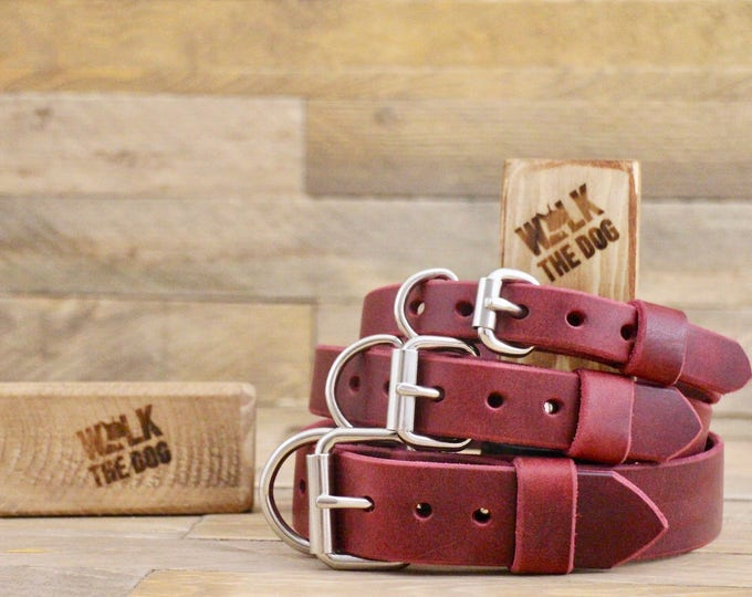 Leather dog collar, FREE ID TAG, Plain collar, Customised leather collar, Burgundy leather collar, Dog collar, Rustic leather collar.