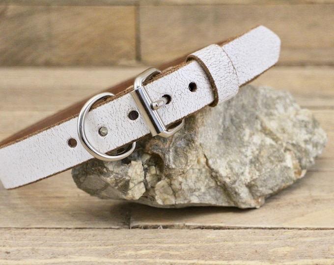 Dog collar, FREE ID TAG, ''White desert'' collar, Adjustable collar, Sturdy collar, Handmade collar, Leather collar, Dog gift, Collar