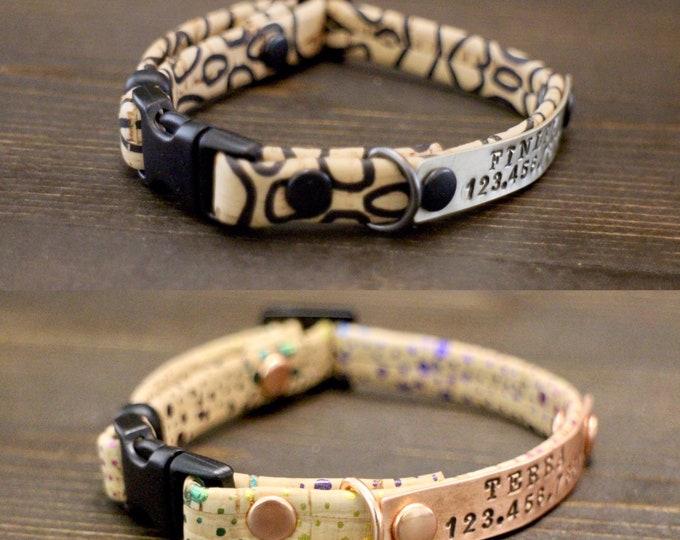 Cork collar - Cat collar - Free metal nameplate - Breakaway/Non breakaway clasp - 3/8'' wide collar- Personalised cat collar
