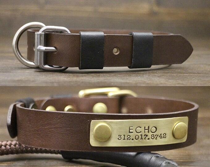 Dog brown collar, Dog collar, FREE personalisation, Brass-Silver hardware, Leather brown collar, Metal nameplate