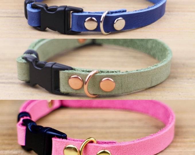 Cat collars - Plain leather cat collar - Breakaway Non Breakaway collar - Plain collars  - Kitten collar - Cat accessories