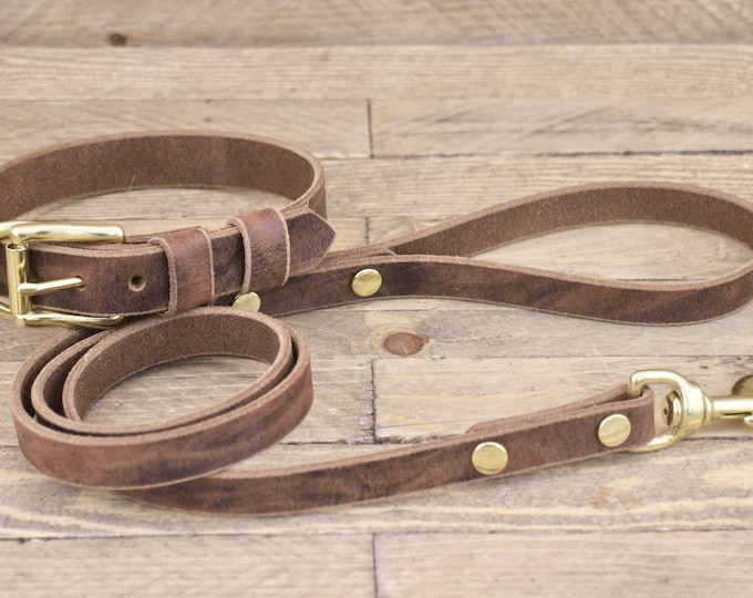 Dog collar, dog leash, set, FREE ID TAG, Dark coffee, Leather collar, Dog collar and leash, Brass hardware, Dog lead, Handmade collars.