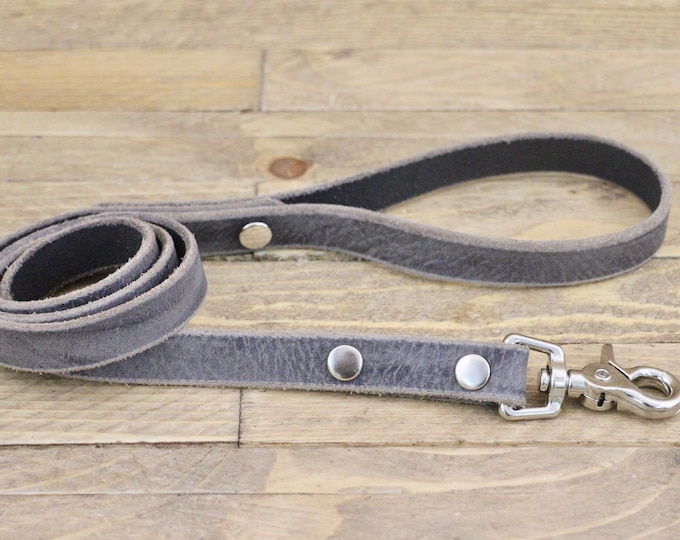 Leather dog leash, Silver hardware, Leather lead, Sturdy lead, Grey stone colour, Handmade leather leash, Dog gift, Puppy, Simple leash.