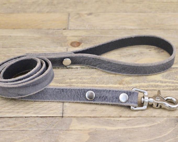 Leather dog leash, Silver hardware, Leather lead, Sturdy lead, Grey stone colour, Handmade leather leash, Dog gift, Puppy, Simple leash.