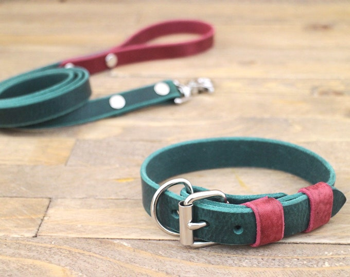 Free personalisation, Collar and leash set, Forest, Burgundy, Leather leash, Silver hardware, Handmade collar and leash.