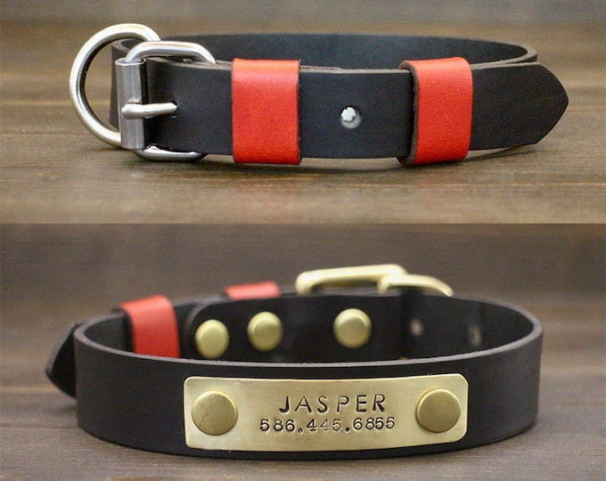 Dog collar, Black leather collar, FREE personalisation, Brass-Silver hardware, Metal nameplate, Classic buckle collar