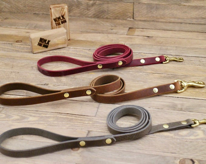 Leash, Leather dog leash, Dog leash, Gift, Rustic leather leash, Burgundy leather lead, Cowboy brown lead, Strong leash, Leather leash.