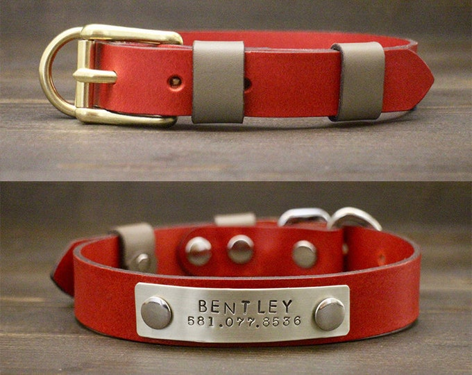 Red dog collar, Dog leather collar, FREE personalisation, Brass-Silver hardware, Metal nameplate, Classic style buckle