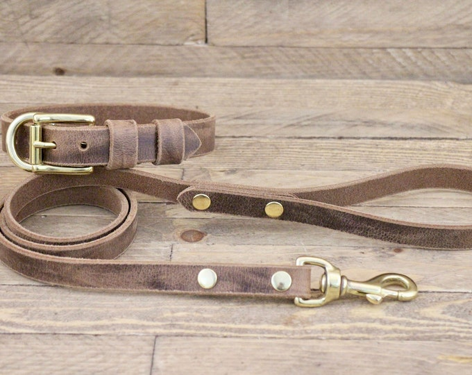 Collar and leash set, Dog collar, Leather leash, Brass hardware, Crazy horse, FREE ID TAG, Handmade leather collar, Dog collars, Dog leash.