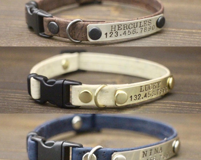 Cat collars - Cork collar - Cat collar breakaway or non breakaway - Id cat collar - Kitten collar - Cat cork collar