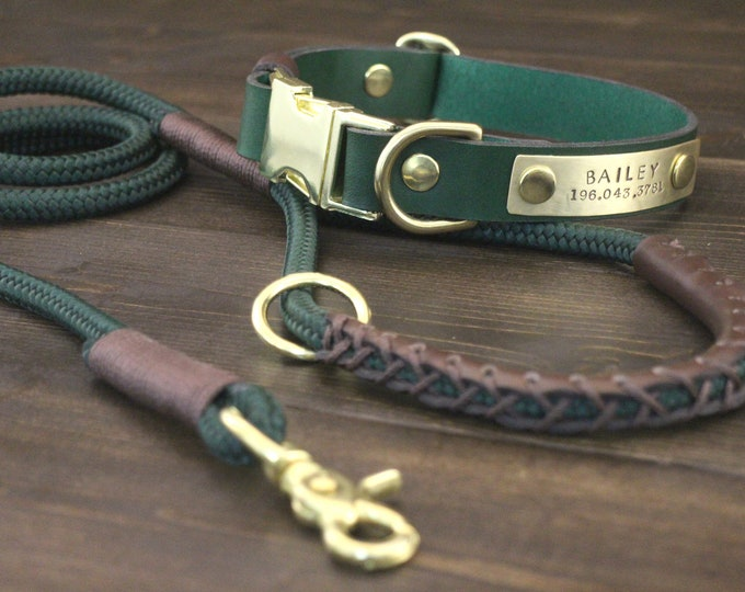 Dog leather collar, Dog leash, Jungle collar and leash set, FREE personalisation, Quick release collar, PPM rope leash, Brass hardware