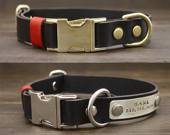 Quick release collar, Dog leather collar, FREE personalisation, Black collar, Brass-Silver hardware, Handmade collar