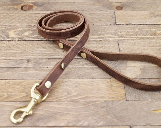 Leather leash,Handmade leash, Dog leash, Pet gift, Dark coffee, leash, Leash, Strong leather leash, Leather lead, Lead.