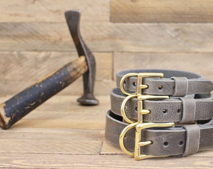Dog collar, FREE ID TAG, Wolf grey brown collar, Custom leather collar, Handmade leather collar, Gold Hardware, Leather collars, Puppy.