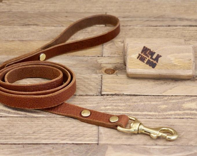 Leather lead, Solid brass hardware, Dog leash, Leather dog leash, Pet gift, Walk leash, Puppy,  Handmade leather leash, Dog collar, Brown.