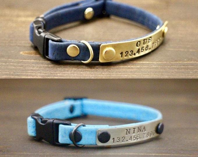 Breakaway cat collar - Cat cork collar - Breakaway/Non breakaway collar- Personalised cat collar - Pet collar - Metal nameplate - Pet gift