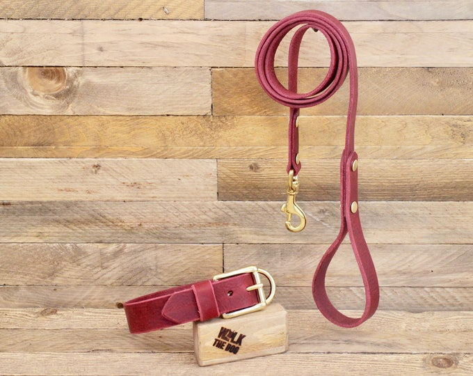 Dog collar, Dog leash, Set, Burgundy colour, Brass hardware, FREE ID TAG, Collar and leash, Handmade leather collar, Leather leash, Collar.