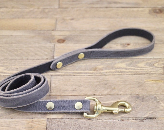 Dog leash, Brass hardware, Leather lead, Grey stone colour, Handmade leather leash, Dog gift, Puppy, Strong leash, Leash, Pet gift.