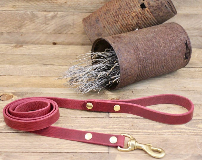 Dog leash, Solid brass hardware, Burgundy, Leather lead, Leather dog leash, Pet gift, Walk leash, Lead,  Handmade leather leash, Dog.