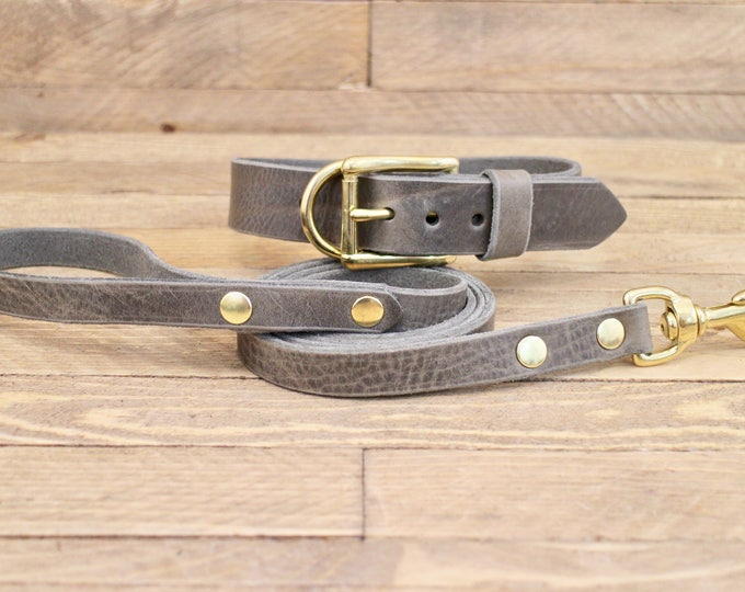 Dog collar, Dog leash, Set, Wolf grey brown, Brass hardware, FREE ID TAG, Collar and leash, Handmade leather collar, Leather leash, Collar.