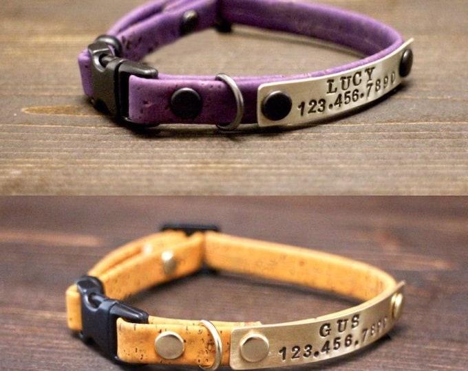 Breakaway cat collar - Cat collar - Breakaway/Non breakaway collar- Personalised cat collar - Cork collar - Free metal nameplate - Gift