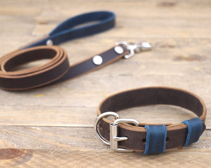 Lead, Leather collar, Dog set, Silver hardware, FREE ID TAG, Handmade, Cocoa, deep ocean, Unique collar, Leather leash, Xl collar.