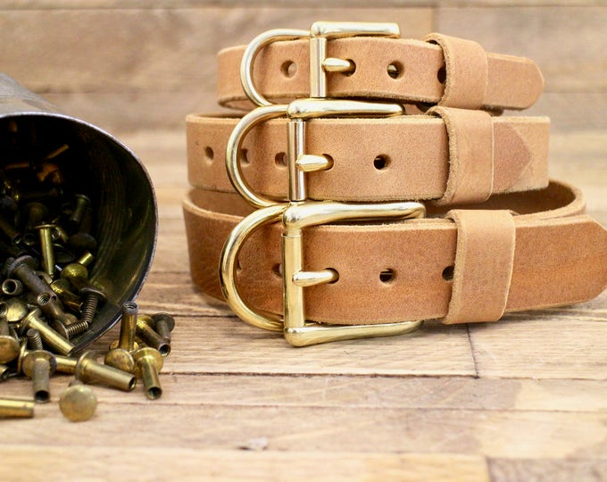 Leather collar, FREE ID TAG, Dog collar, Collar, Custom leather collar, Solid brass , Handmade leather collar, tan colour, Gold Hardware.