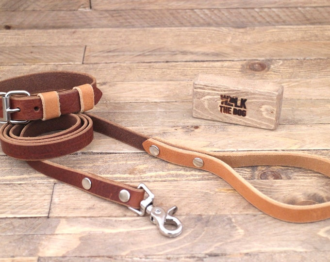 Leather collar, Leather leash, Set, Personalised collar, ID TAG, Silver hardware, Cowboy brown, Whiskey, Handmade collar, Sturdy.