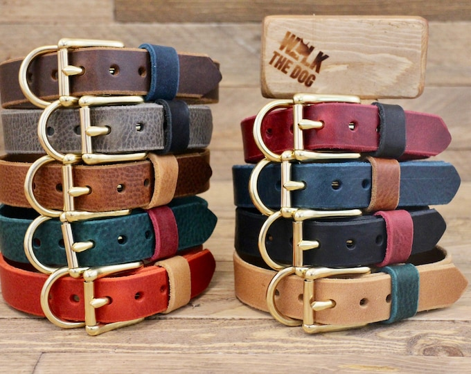 Dog collar, Leather dog collar, FREE ID TAG, Handmade leather collar, Brass hardware, Pet supplies, Colourful collars, Red collar.