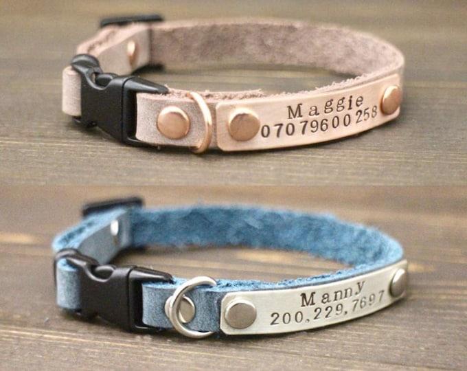 Leather cat collar - Breakaway cat collar - Cat collar - Leather cat collar - Personalised collar - Cat accessories - Cat id tag