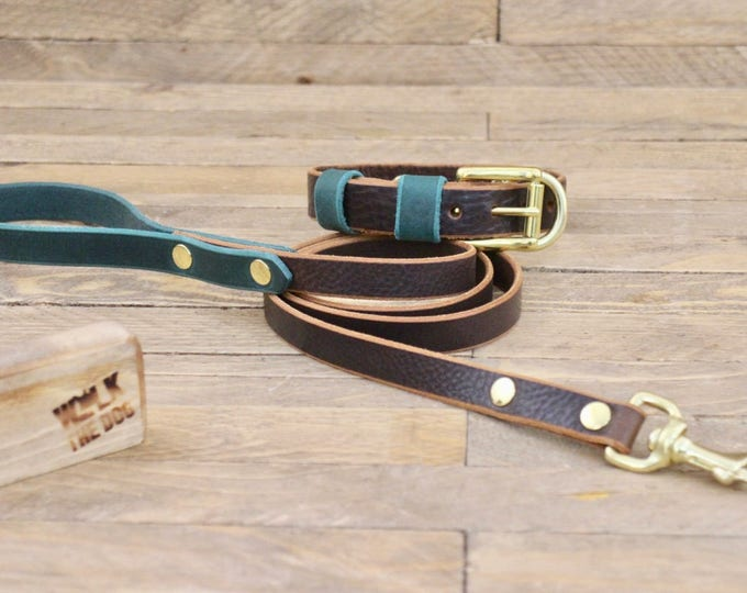Dog collar leash , Set, FREE ID TAG, Cocoa, Forest, Colours, Brass hardware, Handmade collar and leash,  Pet gift.